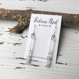 Silver Sparkly Resin Bar Earrings