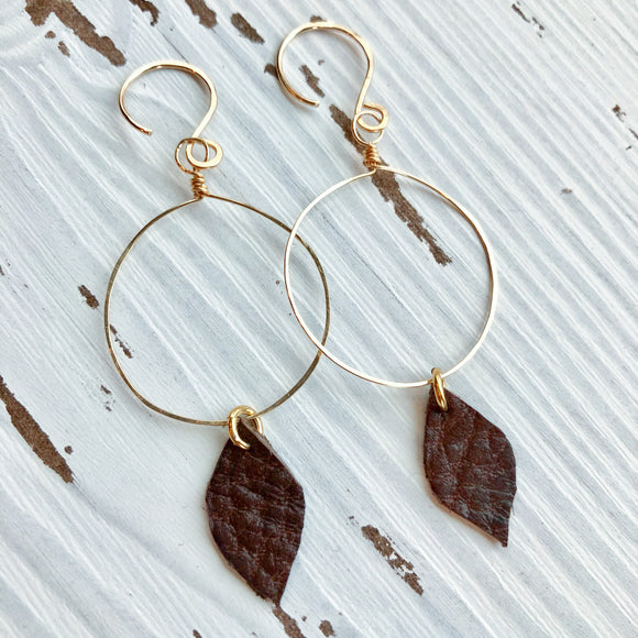 Dark Brown Leather Drop Earrings in Gold
