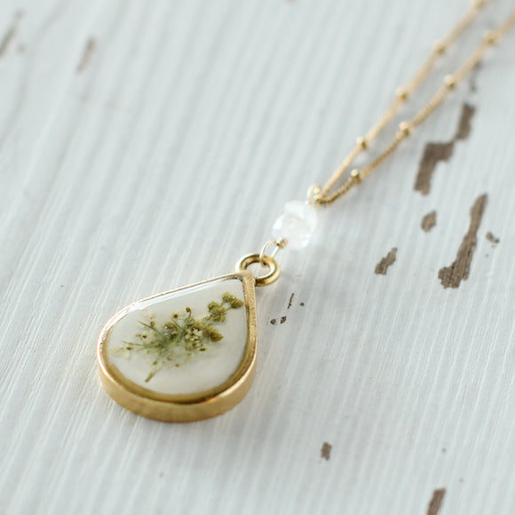 Foggy Flowers in Gold Teardrop Necklace