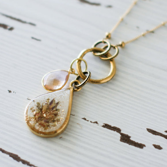 Pressed Flowers in Resin Teardrop Gold Necklace