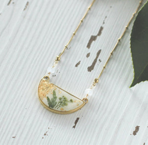 Gold Half Moon Necklace with Greenery