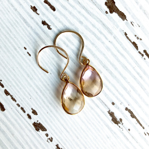 Gold Teardrop Gemstone Earrings