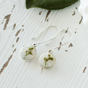 Silver Circle Earrings with Flowers