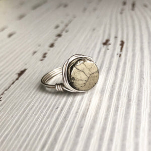Pyrite and Silver Wire Wrap Ring