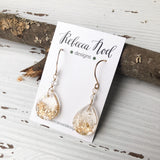 Gold Glitter Teardrop Resin Earrings