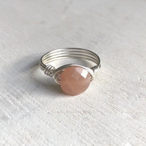 Peach Moonstone and Silver Wire Wrap Ring