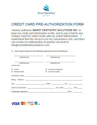 Credit Card Pre-Authorization Form