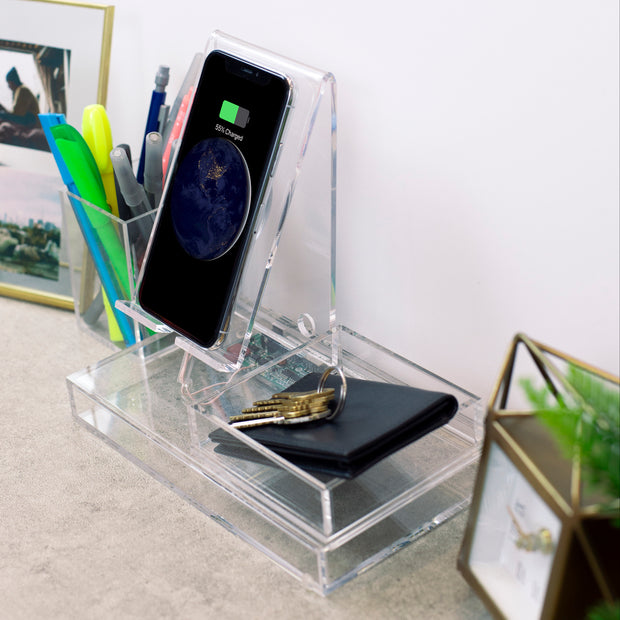 Wireless Charging Station, Phone Stand & Organizer - Acrylic - Clear