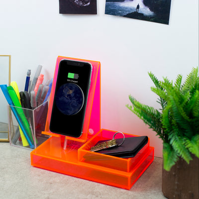 Wireless Charging Station, Phone Stand & Organizer - Acrylic - Pink