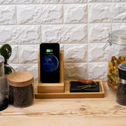 Wireless Charging Station, Phone Stand & Organizer - Bamboo and Wood