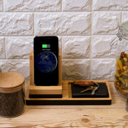 Wireless Charging Station, Phone Stand & Organizer - Bamboo and Black