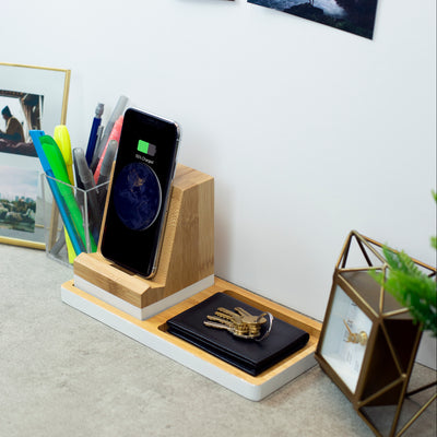 Wireless Charging Station, Phone Stand & Organizer - Bamboo and White