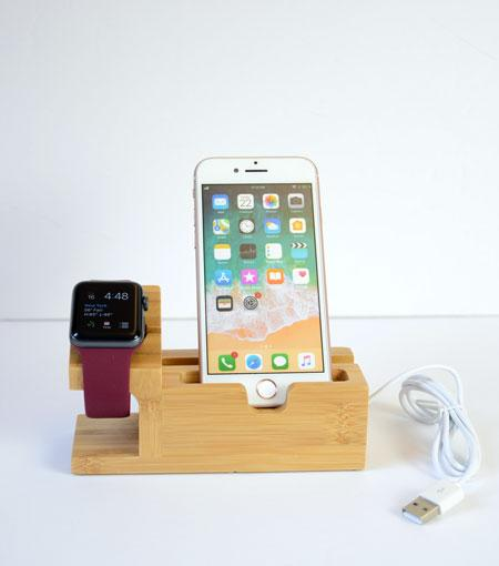 Audiology Wooden USB Desktop Organizer For Smartphones And Smartwatches