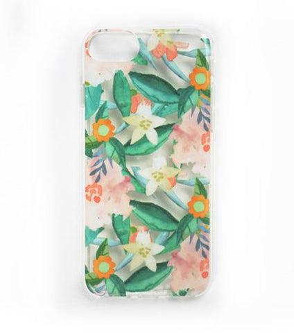 LMNT Green, Orange And Pink Printed Flower iPhone®Case