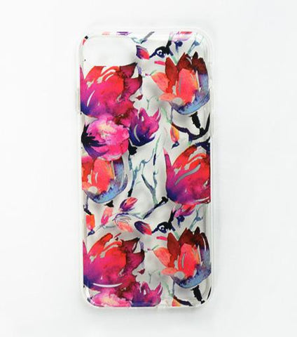 LMNT Dark Red, Purple And Green Printed Flower iPhone®Case