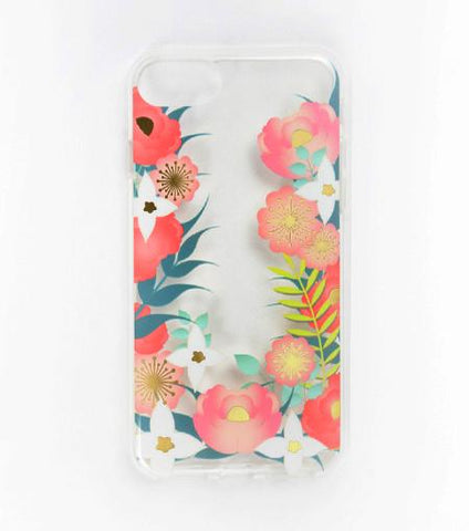 LMNT Green, White And Pink Printed Flower iPhone®Case