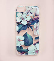LMNT White, Green And Maroon Printed Flower iPhone®Case