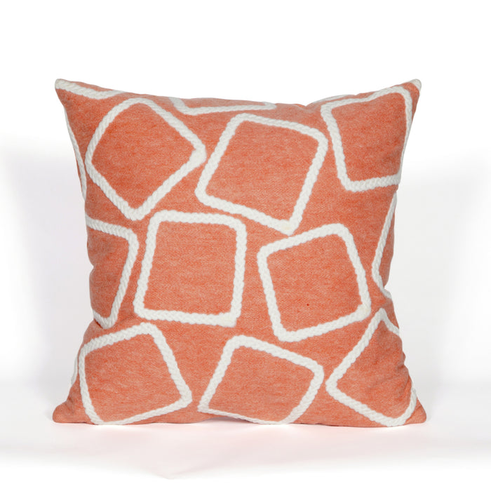 Liora Manne Visions I 4087/17 Squares Coral Pillow by Trans Ocean