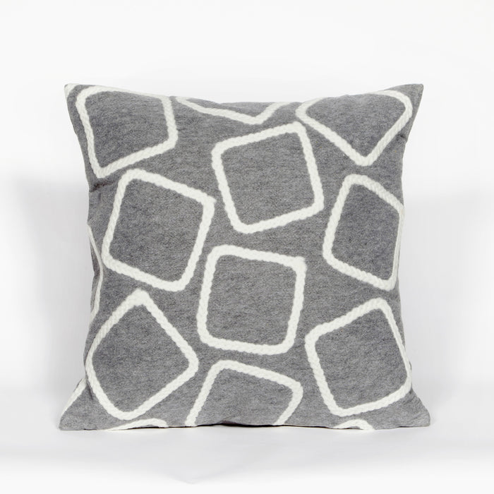 Liora Manne Visions I 4087/38 Squares Silver Pillow by Trans Ocean