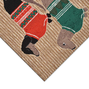 Liora Manne Frontporch 1566/12 Holiday Hounds Neutral Area Rug by Trans Ocean