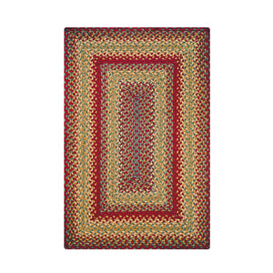 Home Spice Cider Barn Jute Braided Rug : Red, Gold, Brown, Green