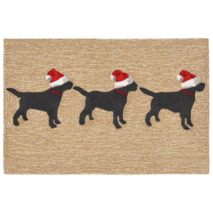Liora Manne Frontporch 1857/12 3 Dogs Christmas Neutr Area Rug by Trans Ocean