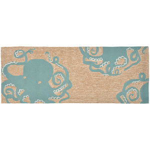 Liora Manne Frontporch 1432/04 Octopus Aqua Area Rug by Trans Ocean