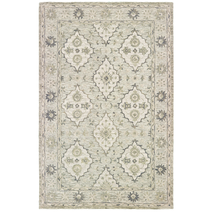 LR Home Modern Tradition MODTR81286 Pale Green Suzani Oriental Area Rug