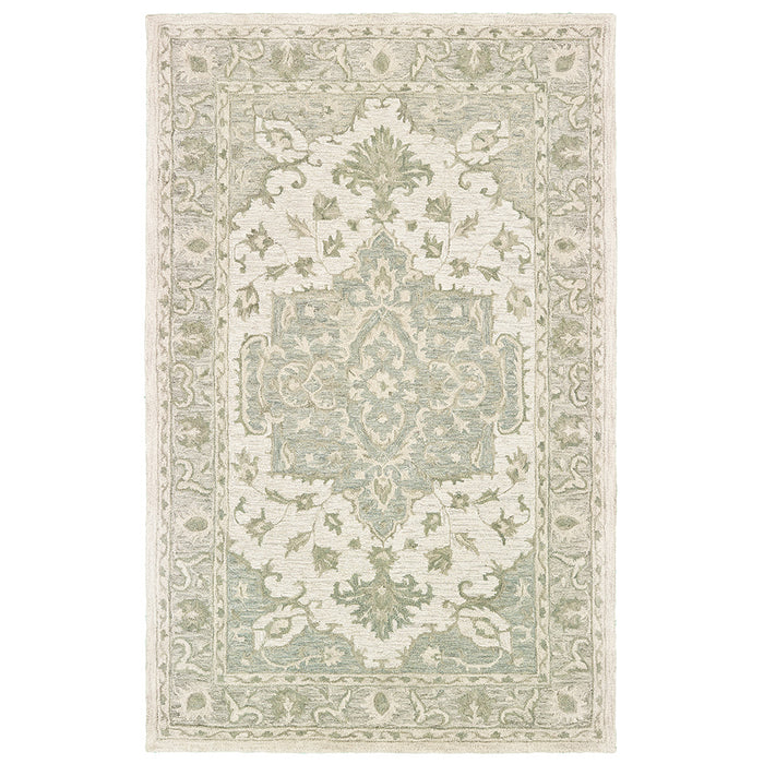 LR Home Modern Tradition MODTR81289 Sea Green Medallion Area Rug