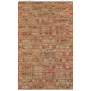 LR Home Natural Fiber NATUR03310 Intricate Geometric Natural Burgundy Jute Area Rug