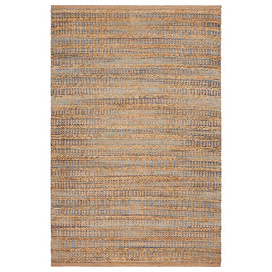 LR Home Natural Fiber NATUR03318 Braided Natural and Aqua Jute Area Rug
