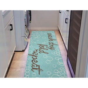 Liora Manne Frontporch 1549/04 Wash...And Repeat Aqua Area Rug by Trans Ocean