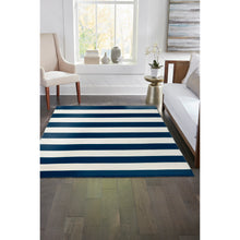 Liora Manne Sorrento 6302/33 Rugby Stripe Navy Area Rug by Trans Ocean