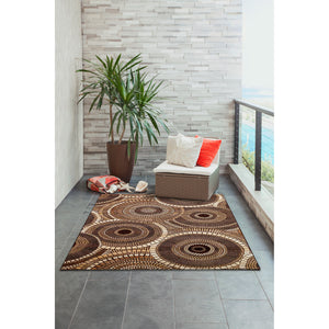Liora Manne Marina 8035/19 Circles Brown Area Rug by Trans Ocean