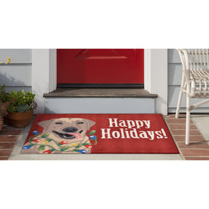 Liora Manne Frontporch 1561/24 Happy Holidays Red Area Rug by Trans Ocean