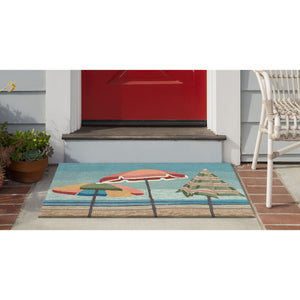 Liora Manne Frontporch 4473/04 Beach Umbrellas Aqua Area Rug by Trans Ocean