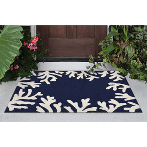 Liora Manne Capri 1620/33 Coral Border Navy Area Rug by Trans Ocean