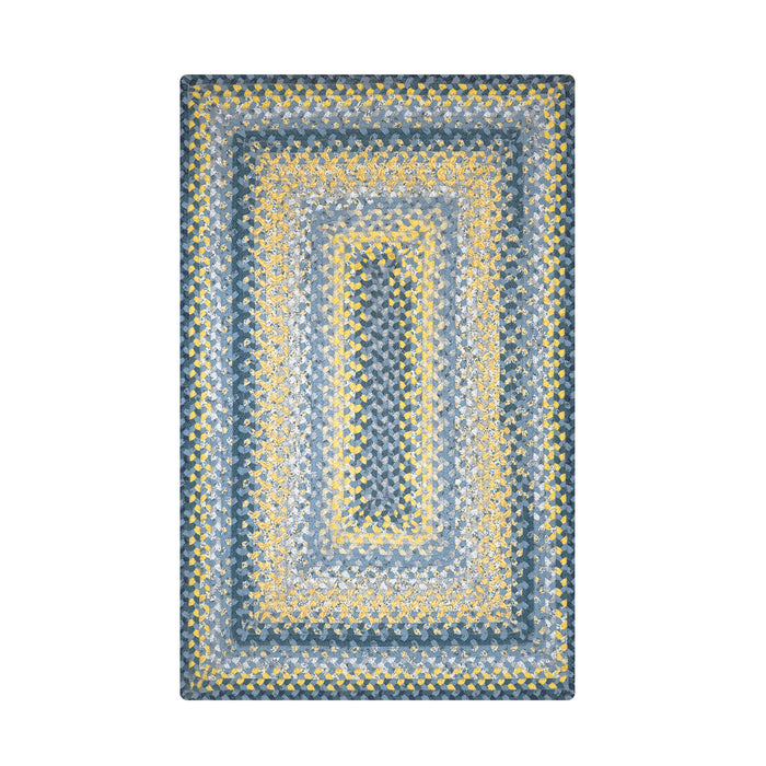 Home Spice Sunflowers Cotton Braided Rug : Blue, Cream, Yellow