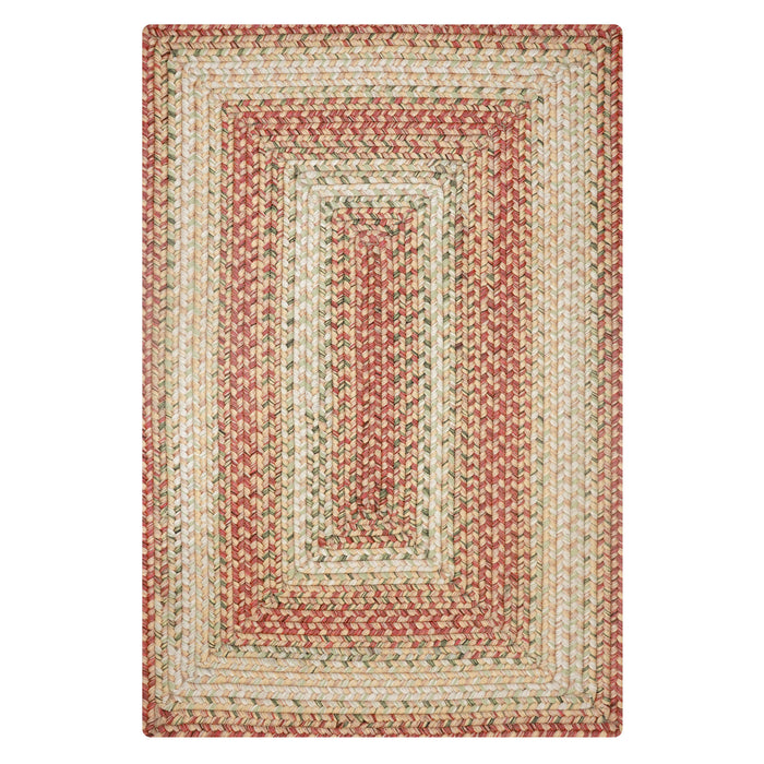 Home Spice Tuscany Ultra Durable Braided Rug : Beige, Red & Green