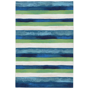 Liora Manne Visions II 4313/03 Painted Stripes Cool Area Rug by Trans Ocean