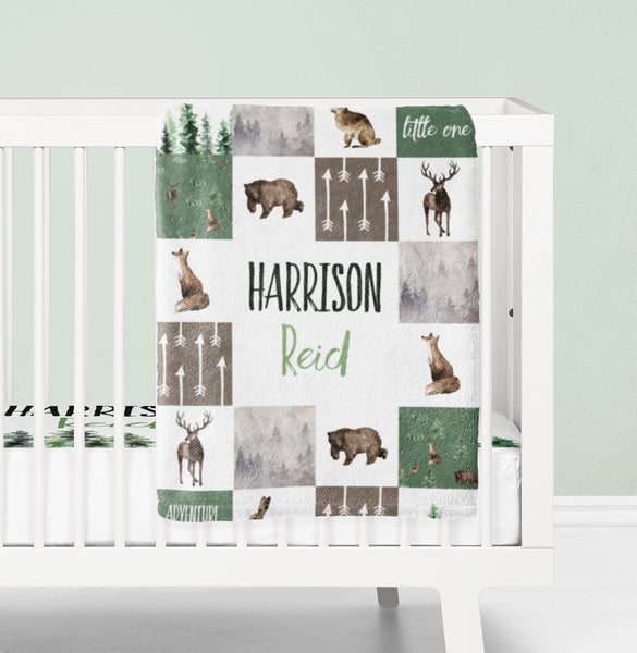 Woodland Baby Boy Nursery Bedding - Forest Animals Collection