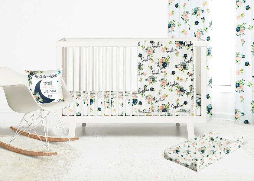 Moonlight Lullabies - Nursery Bedding Collection for blush and navy blue lovers