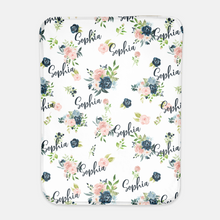 Load image into Gallery viewer, Personalized Swaddle Baby Girl Blanket - Moonlight Lullabies collection