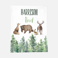 Load image into Gallery viewer, Personalized Baby Boy Blanket with a Name- Forest Animals collection
