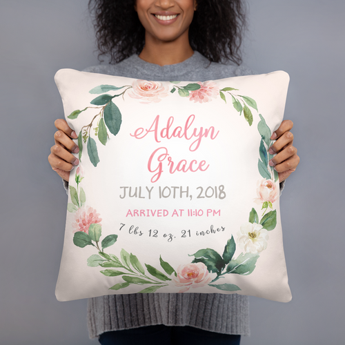 Birth announcement pillow floral - Blush Florals collection