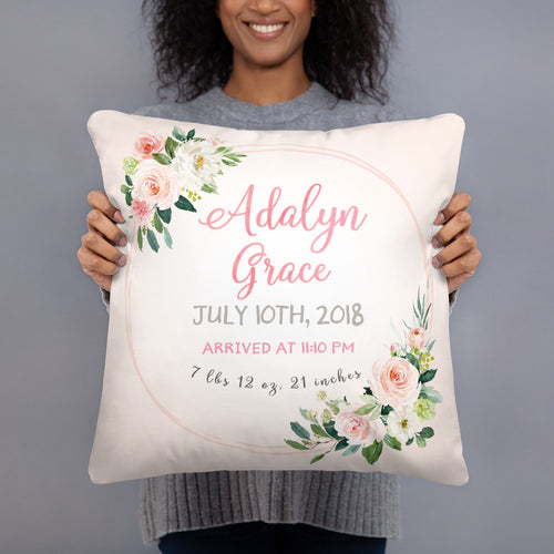 Birth announcement pillow - Blush Florals collection
