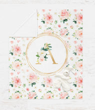 Load image into Gallery viewer, Monogrammed Baby Girl Blanket - Blush Florals Collection