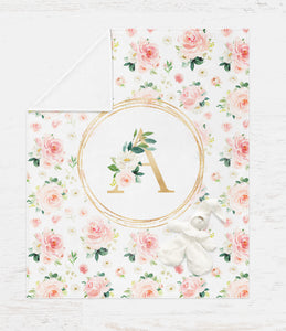 Monogrammed Baby Girl Blanket - Blush Florals Collection