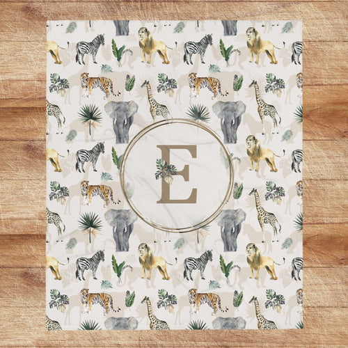 Monogrammed Baby Blanket - Safari Animals Collection