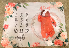 Load image into Gallery viewer, Milestone Baby Girl Blanket - Sunny Coral collection